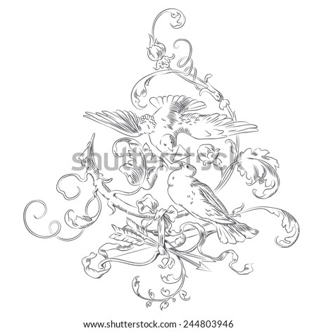 Hand drawn sketch - vignette Valentines Day - two doves in a tree - stock photo