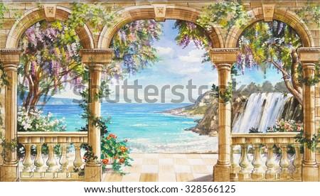 Flower Balcony Illustration