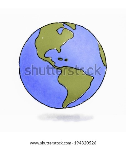 Hand drawn sketchy Earth pencil and watercolors - stock photo