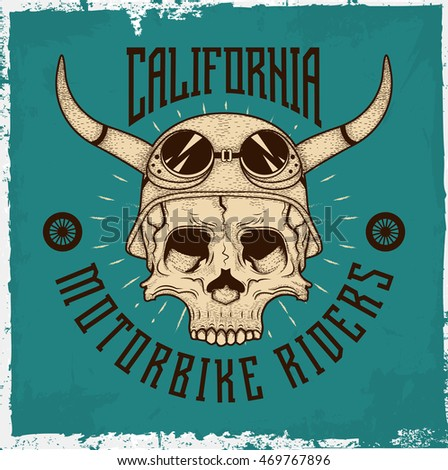 Hand drawn skull with a helmet and text 'Motorbike riders', t-shirt design, on the mint and dusty background. Raster copy