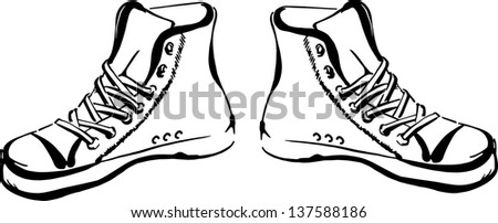 Hand drawn sneakers (gumshoes) isolated on white background - stock photo