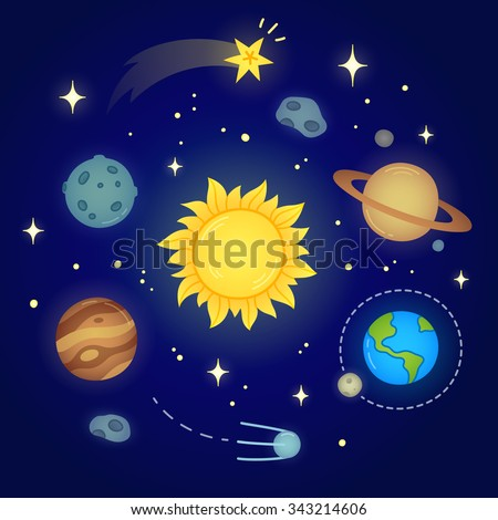 Hand drawn solar system doodle with glowing sun, planets, asteroids and other outer space objects. Cute and bright illustration. - stock photo