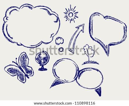 Hand drawn speech bubbles. Raster - stock photo