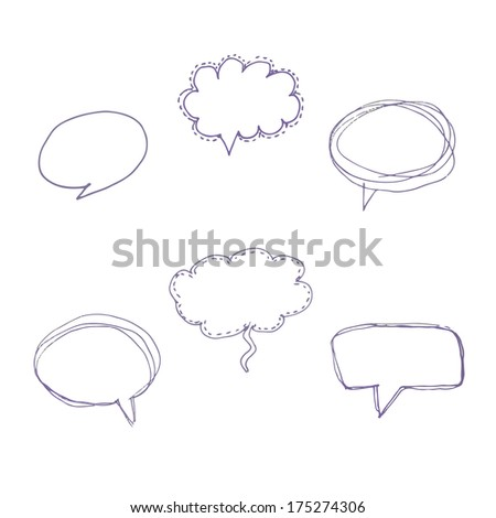 hand drawn speech bubbles. set of six design elements - stock photo