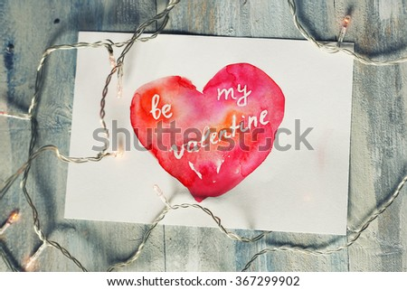 Hand drawn st Valentine's day greeting card - stock photo