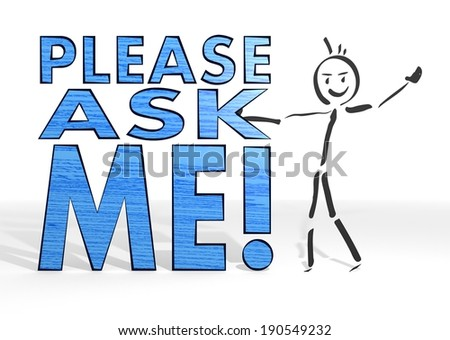 hand drawn stick man presents a ask sign white background - stock photo