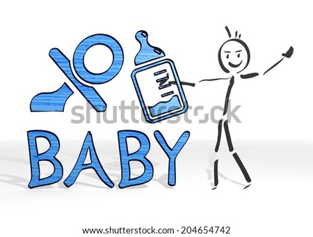 hand drawn stick man presents a baby sign white background - stock photo