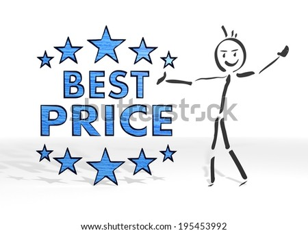hand drawn stick man presents a best price sign white background - stock photo