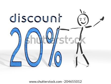 hand drawn stick man presents a discount white background - stock photo