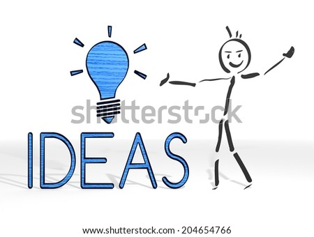 hand drawn stick man presents a idea sign white background - stock photo