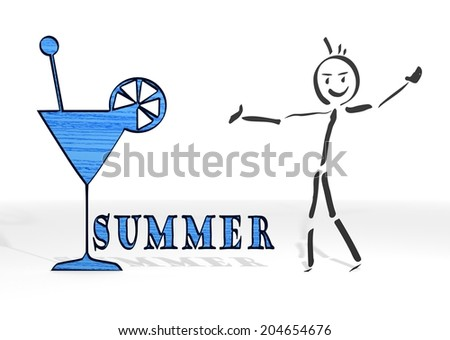 hand drawn stick man presents a summer sign white background - stock photo