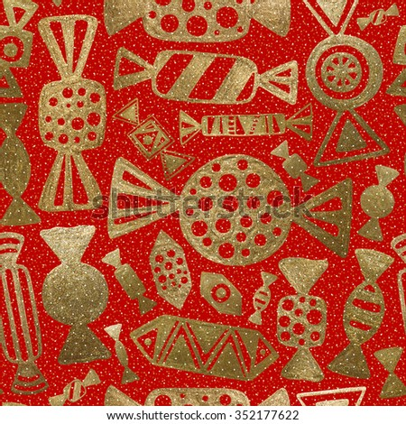 Hand drawn sweets. Gold candy on red background. Seamless abstract pattern.