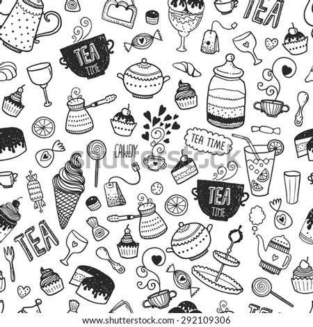 Hand drawn tea time background, doodle pattern with teapots, glass, cupcake, decoration, tea, ice cream, cup and sweets