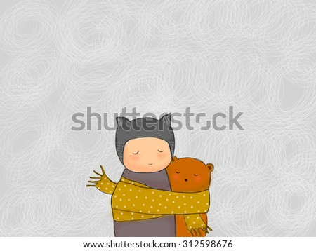 hand drawn teddy bear and child hugging together with sharing scarf. Gray strokes scribble background. Idea of warm, togetherness, valentine, birthday, sharing, caring, sad concept wallpaper - stock photo