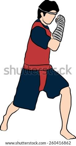 hand drawn Thai martial arts muay thai  body weapon - stock photo