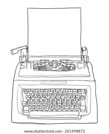 hand drawn typewriter with paper cute line art painting  illustration   vintage - stock photo