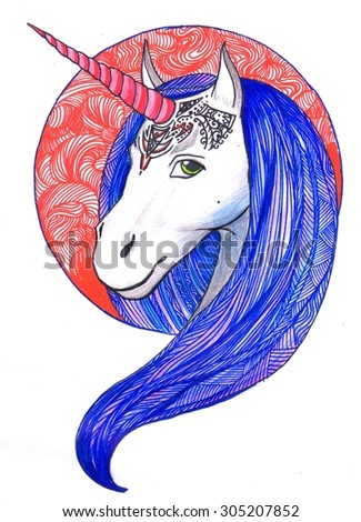 Hand drawn  Unicorn head decorative element
