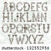 hand drawn vintage alphabet for design - stock photo