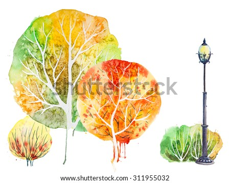 Hand drawn watercolor autumn background with park, outdoor elements: orange,green trees, shrubs and lantern, isolated on the white  - stock photo