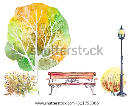 Hand drawn watercolor autumn background with park, outdoor elements: tree, shrub, bench and lantern, isolated on the white background - stock photo