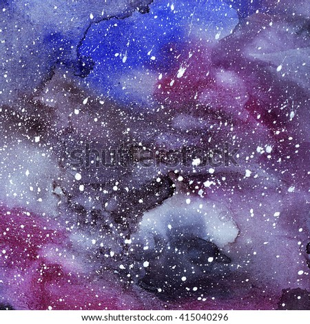 Hand drawn watercolor background. Abstract space texture.Night sky with stars.