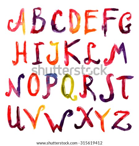 Hand drawn watercolor big capital letters alphabet font set isolated  illustration