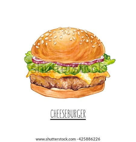 Hand drawn watercolor burger with onion, salad, beef, cheese. Cheeseburger. Illustration for restaurant menu, print.