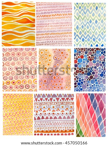 hand drawn watercolor fabric texture set. 9 illustrations with geometric abstract colorful background