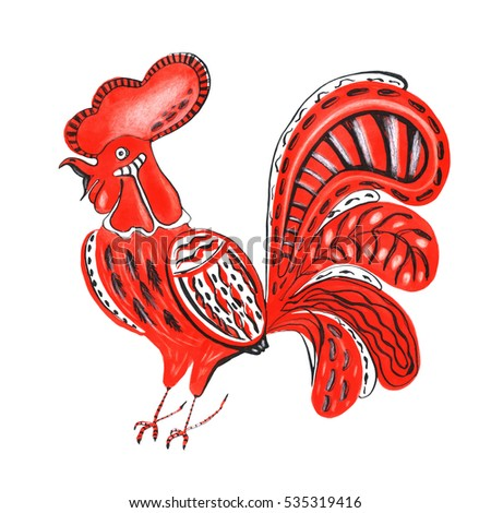 Hand drawn watercolor folk style red rooster isolated on white background.