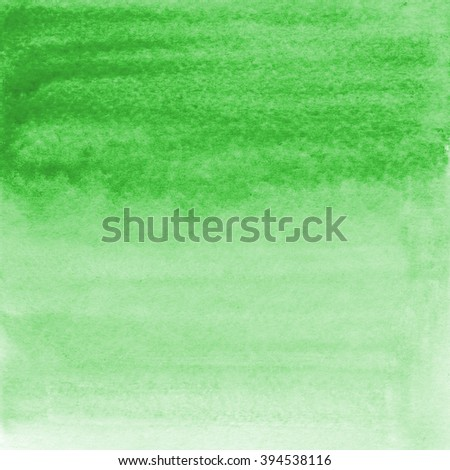 Hand drawn watercolor gradient wash. Colorful pained background. Square background in light green. Nature eco design element.  - stock photo