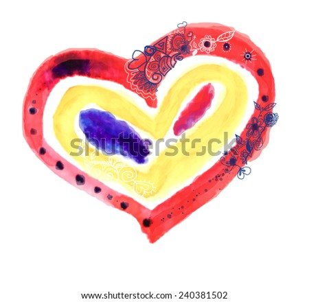 Hand drawn watercolor heart with ornament - stock photo