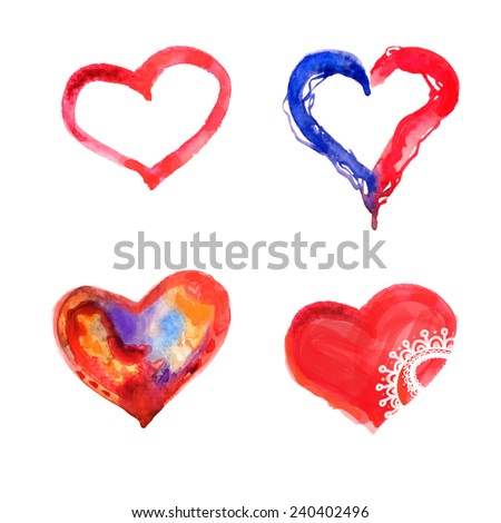 Hand drawn watercolor hearts - stock photo