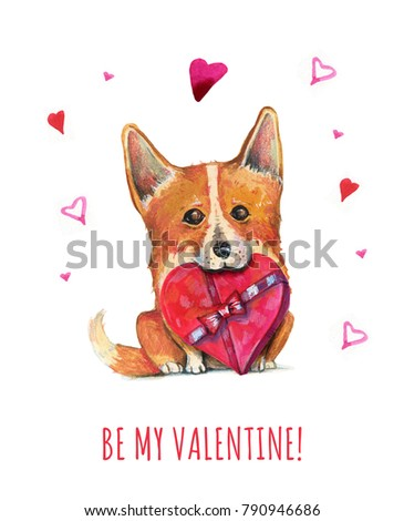 Hand Drawn Watercolor Illustration For St Valentineu0027s Day With Orange Corgi  Dog With Hearts And Red