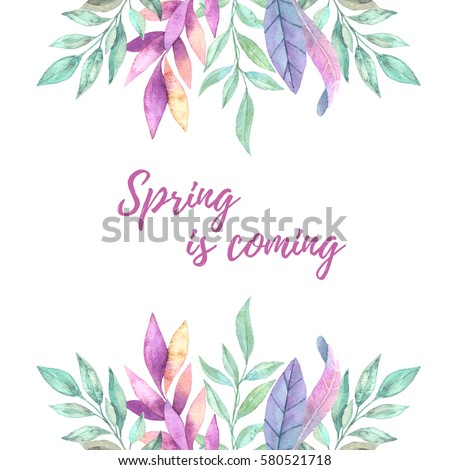 Hand Drawn Watercolor Illustration Frame Spring Stock Illustration ...