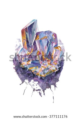 Hand drawn watercolor illustration of a purple crystal - stock photo