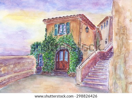 Hand drawn watercolor illustration of old cafe in the town Eze village, French Riviera - stock photo