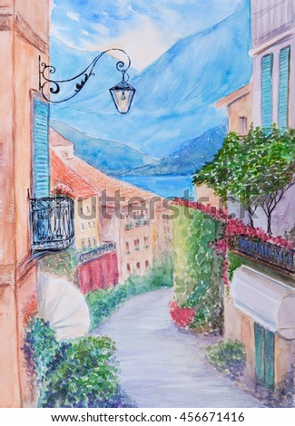 Hand drawn watercolor illustration of small town street  - stock photo