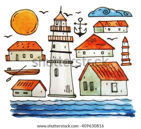 Hand drawn watercolor lighthouse with painted water and  houses  by the sea.Beach watercolor illustration. - stock photo