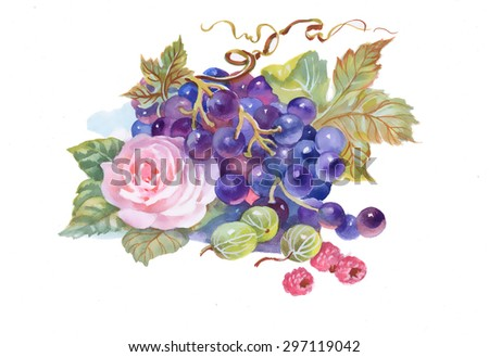 Hand drawn watercolor painting of grape and flower - stock photo