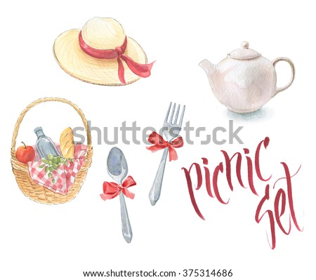 Hand drawn watercolor picnic set.  Hat, basket, tea, fork, spoon, ribbon, wine, fruit. - stock photo