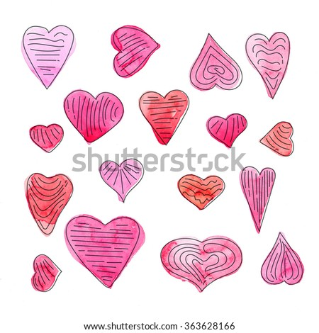 Hand drawn watercolor pink hearts on a white background.Valentine's day background - stock photo