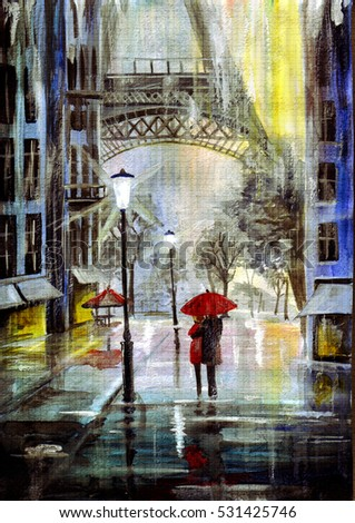 hand drawn watercolor rainy evening in Paris, the Eiffel Tower and the street reflective glare, and a loving couple walking arm in arm under an umbrella. impressionism art painting sketch.