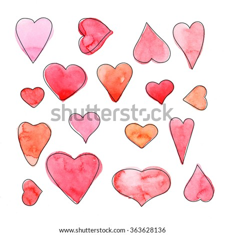 Hand drawn watercolor red hearts on a white background.Valentine's day background - stock photo