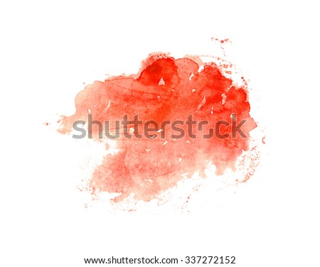 Hand drawn watercolor wash in bright red color. Colorful paint stain. Grungy design element for romantic card or beauty banner with copyspace. - stock photo