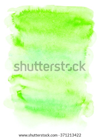 Hand drawn watercolor wash. Light green paint stain. Vertical background. Grunge design element. Organic nature and eco product design. - stock photo