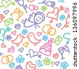 hand drawn wedding seamless pattern on white background - stock vector