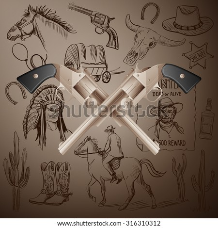 Hand drawn Wild West Collection with Crossed Revolvers and skull. Injun, cowboy, van, horse, cactus, hat, horseshoe, lasso, sheriff, horseman - stock photo