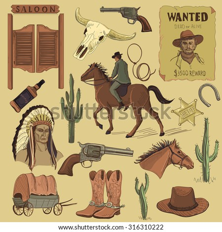 Hand drawn Wild West icons set with revolvers, skull, injun, cowboy, van, horse, cactus, hat, horseshoe, lasso, sheriff, shoes, horseman - stock photo