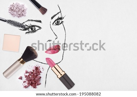 Hand-drawn woman face and make up products - stock photo