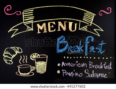Hand drawn word breakfast menu on chalkboard background with copyspace.